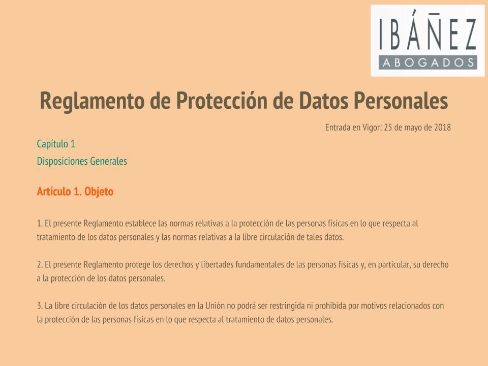 Reglamento Proteccion Datos Articulo 1